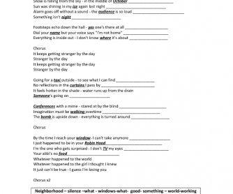 Song Worksheet: Stranger by the Day
