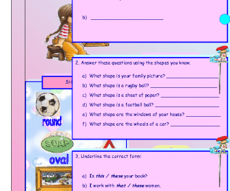 Shapes and Demonstratives Worksheet
