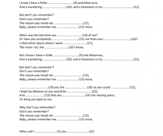 Song Worksheet: Don't You Remember by Adele