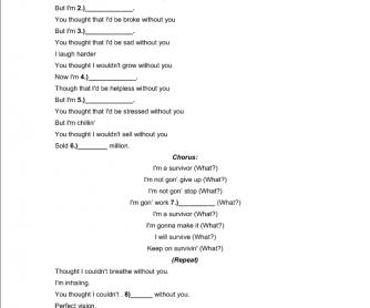 Comparatives & Antonyms Song Gapfill: Destiny's Child Survivor