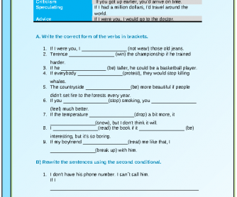 Second Conditional Intermediate Worksheet