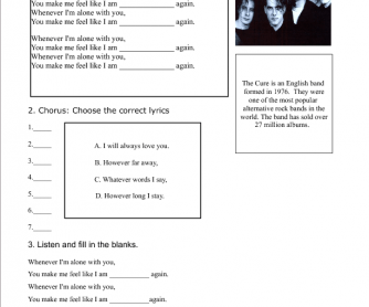 Song Worksheet: Love Song by The Cure