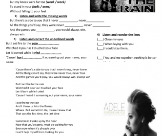 Song Worksheet: Set Fire to the Rain by Adele