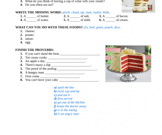 Food (Advanced Learners) + Answer Key