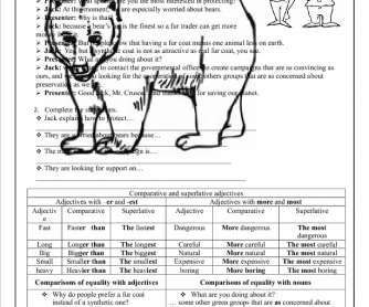 Comparatives and Superlatives Worksheet: Preserving Our Planet""