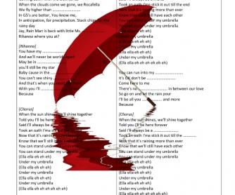 Song Worksheet: Umbrella by Rihanna