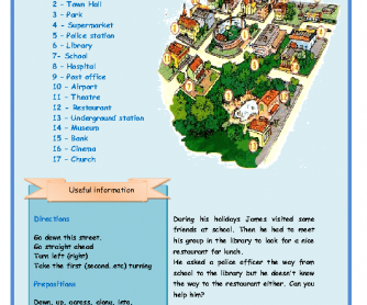 Public Places, Giving Directions and Prepositions Worksheet