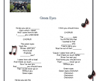 Song Worksheet: Green Eyes by Coldplay