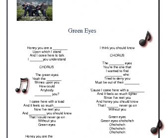 Song Worksheet: Green Eyes by Coldplay