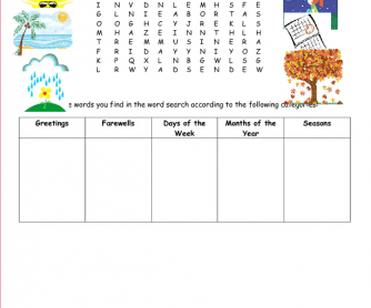 Calendar and Greetings Word Search