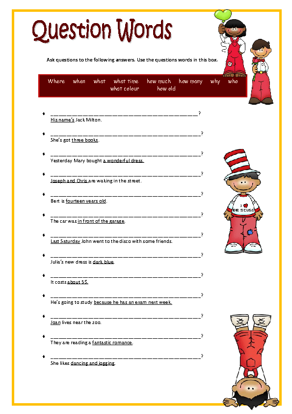 question words elementary worksheet