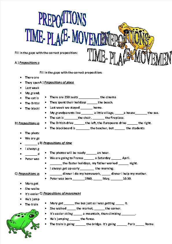 of Time Place and Movement Worksheet – Prepositions of Place Worksheet
