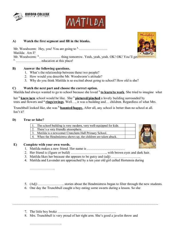 Matilda Movie Guide Education