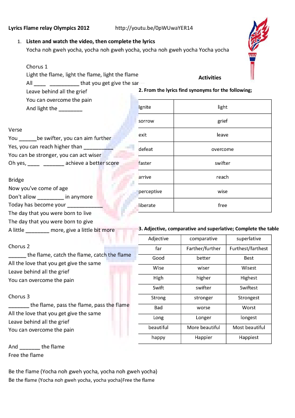Olympic Song Worksheet: Follow the Flame [ANSWERS]