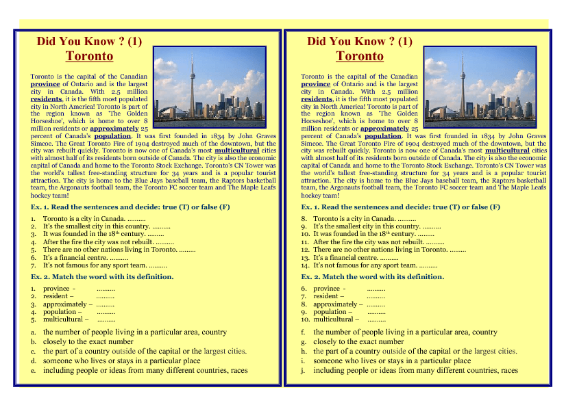 22 FREE Canada Worksheets