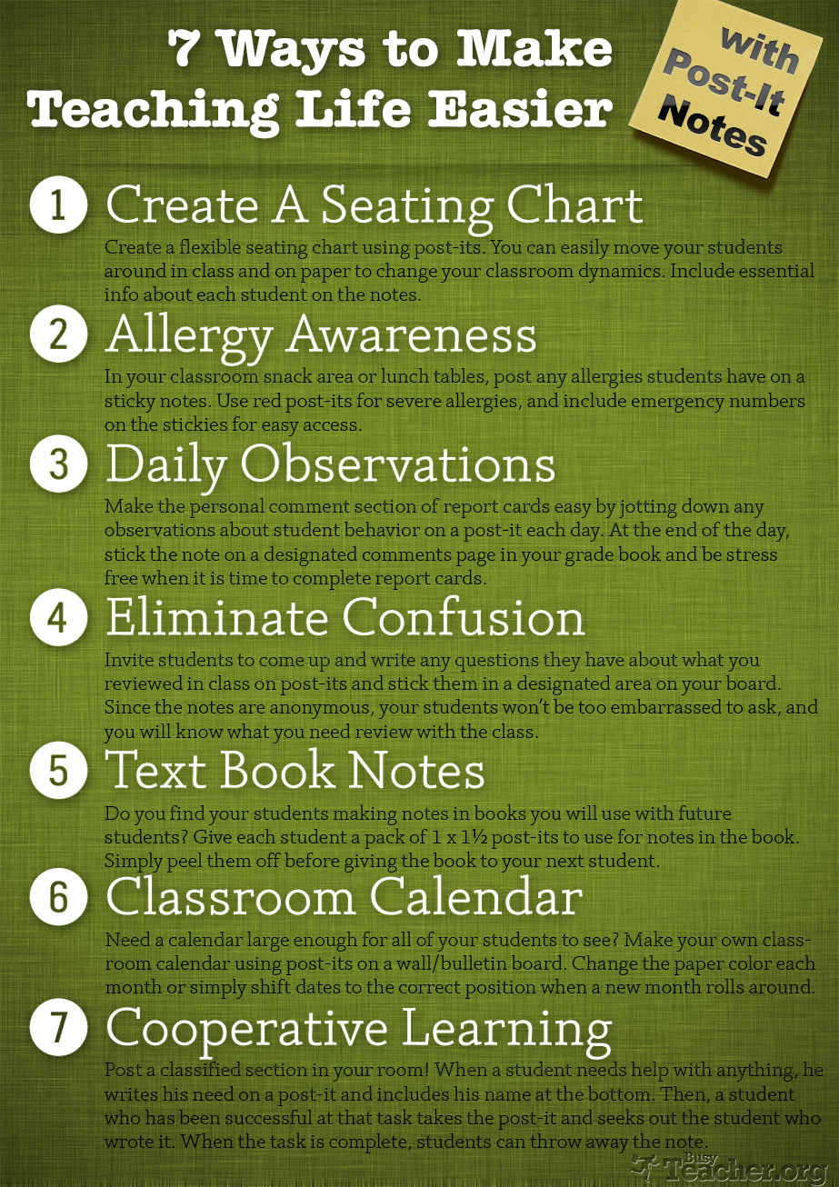 POSTER: 7 Ways to Make Teaching Life Easier with Post-Its