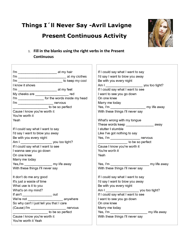 Song Worksheet Things Ill Never Say By Avril Lavigne