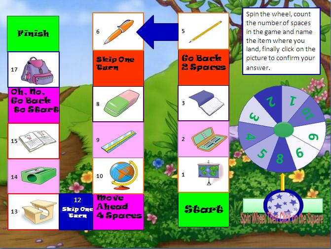 School Supplies Interactive Boardgame