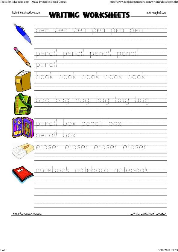 Worksheet Classroom Items – Classroom Worksheets