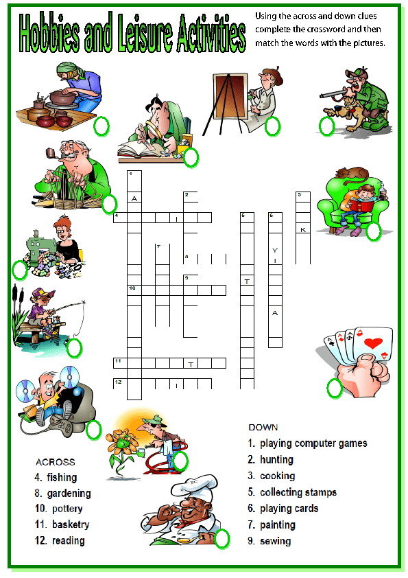 This is a picture crossword for teaching or revising hobbies and ...