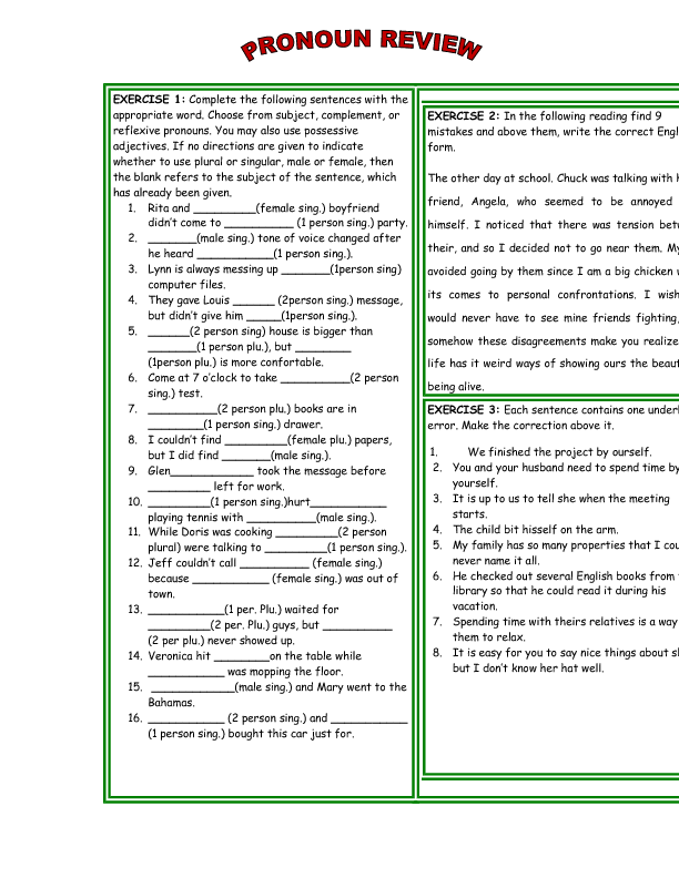pronouns worksheet gdpo possessive pronouns reflexive pronouns ...