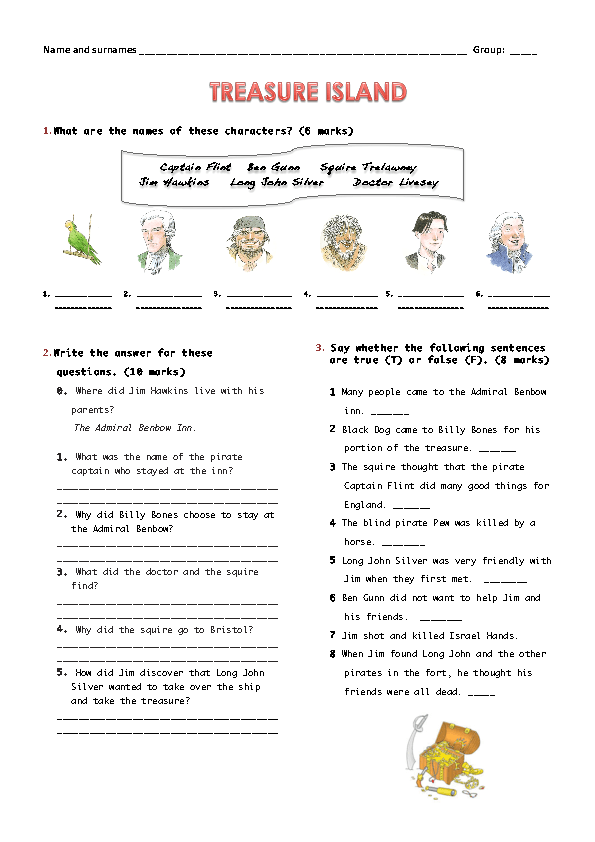 Copy Of Treasure Island Worksheets - Lessons - Tes Teach