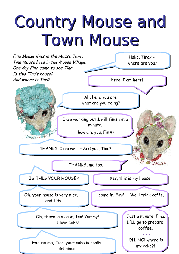 Coloring Pages Of The City Mouse And The Country Mouse