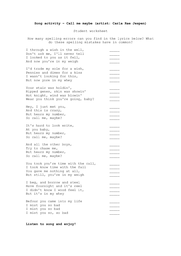 worksheet call me be by carly rea jepsen song worksheet call me be by carly rea jepsen