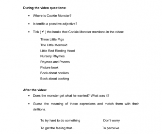 Short Video Worksheet for Adults: Cookie Monster in the Library