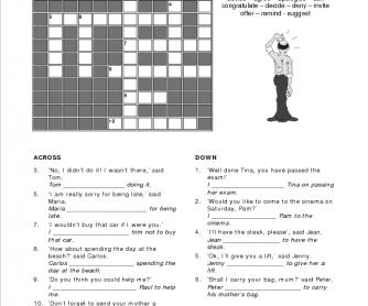 Reporting Verbs Crossword