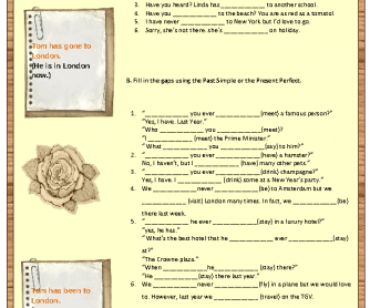 Past Simple vs Present Perfect Worksheet