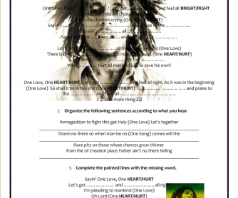 Song Worksheet: One Love by Bob Marley