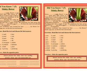 Reading Worksheet - Did You Know? - STINKY FLOWER