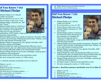 Reading Worksheet - Did You Know? - MICHAEL PHELPS