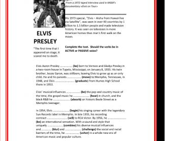 Elvis Presley - Biography & Song; Active & Passive Gap-fill