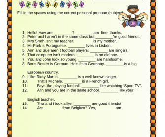 Personal Pronouns Elementary Worksheet II