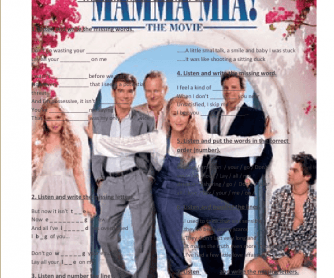 Song Worksheet: Lay All Your Love On Me [Mamma Mia! OST]