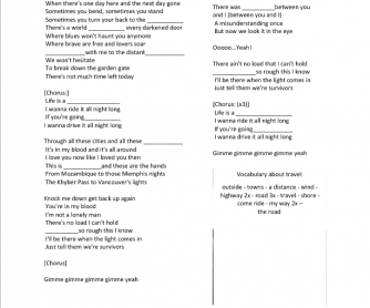 Song Worksheet: Life is a Highway by Rascal Flatts