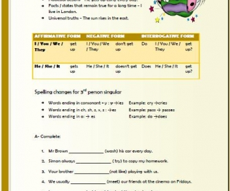 Present Simple Tense Elementary Worksheet