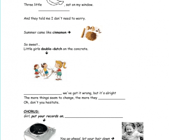 Song Worksheet: Put Your Records on by Corine Bailey Rae