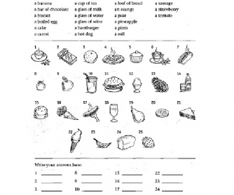 Vocabulary Worksheet: Food And Drinks