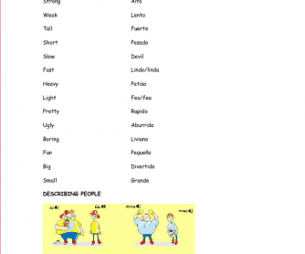 Adjectives (for 8-9-year-old Spanish Students)
