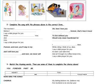 Song Worksheet: I Say a Little Prayer for You [Present Simple Routines]