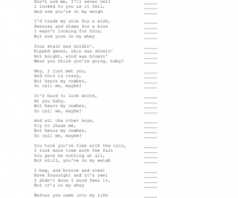 Song Worksheet: Call Me Maybe by Carly Rea Jepsen