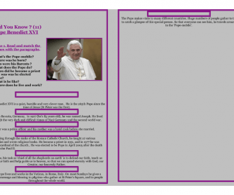Reading Worksheet - Did You Know? - POPE BENEDICT XVI