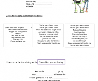 Toy Story Song Activity