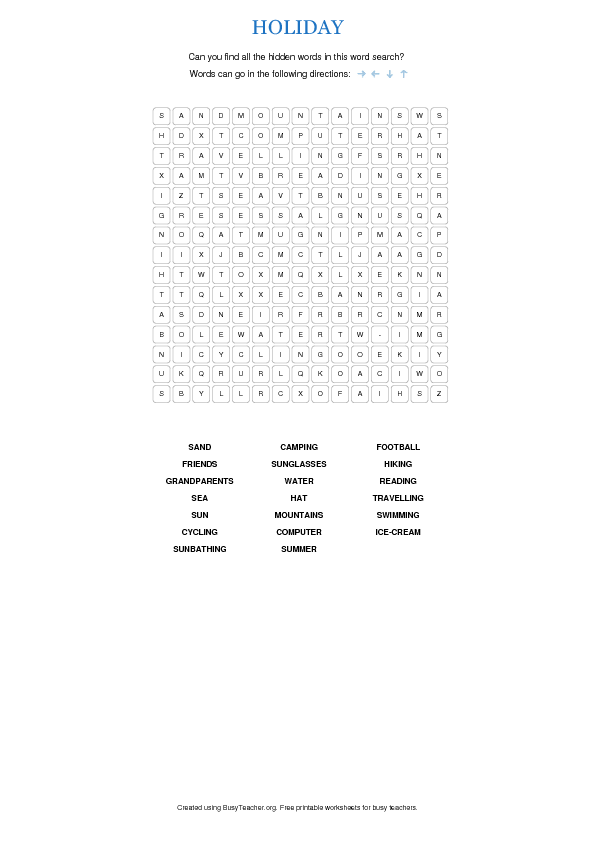 Christmas Worksheets For High School Students : Holiday word search for high school students