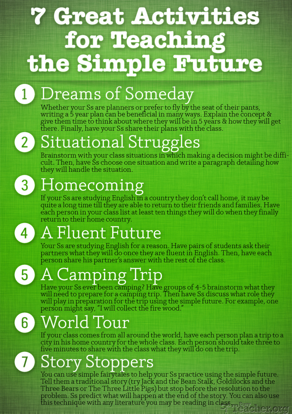 POSTER: 7 Great Activities to Teach the Simple Future