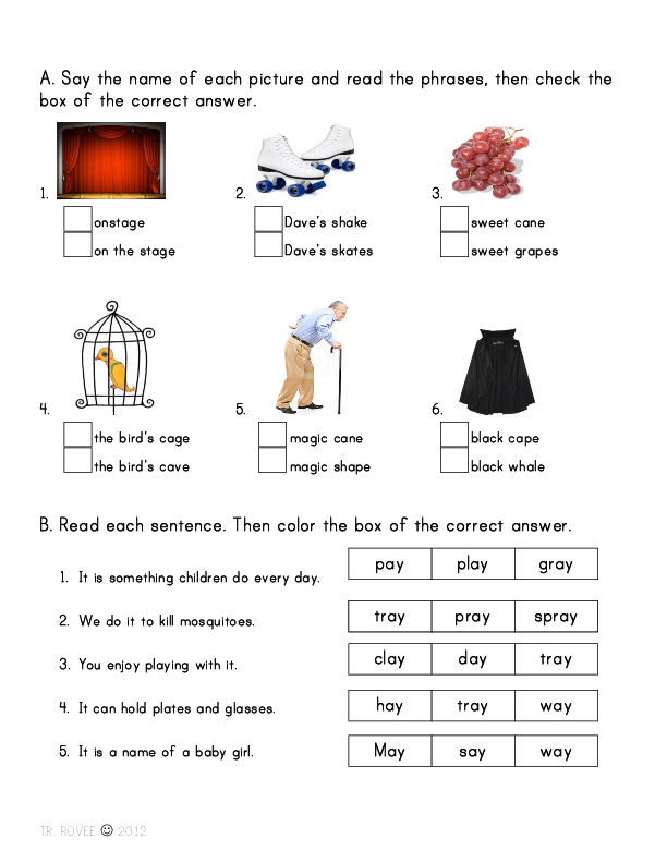 and Phrases with Long Vowel A Sound – Long a Sound Worksheets