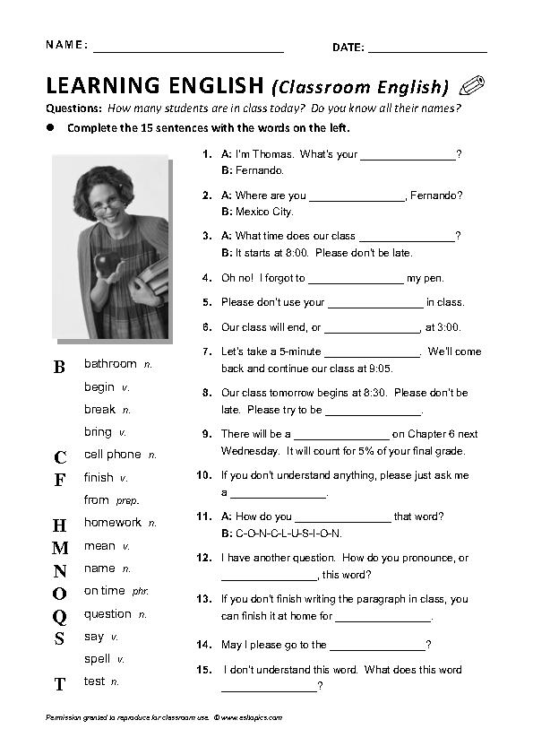 Classroom English Worksheet (Vocabulary Gap-Fill)